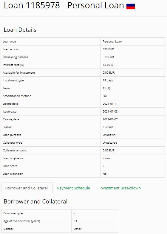 Exemple de prêt sur Iuvo