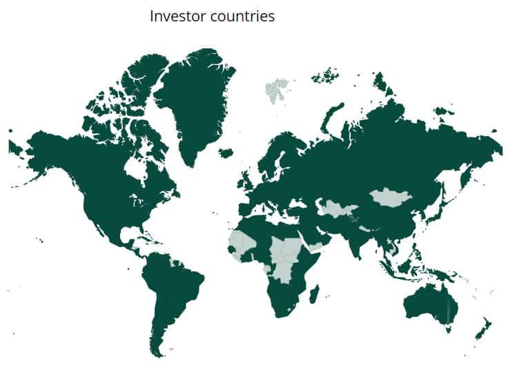 Pays où sont localisés les investisseurs de Iuvo
